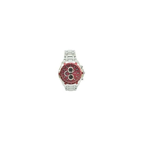 Curren Red Dial Chronograph Watch With Silver Stainless Steel Strap