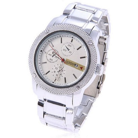 Curren White Dial Chronograph Watch With Stainless Steel Straps