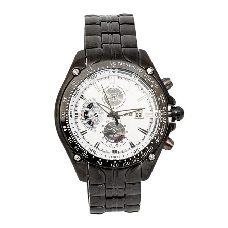 Curren White Dial Chronometer Watch With Stainless Steel Straps