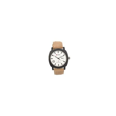 Curren White Dial Watch With Tan Straps