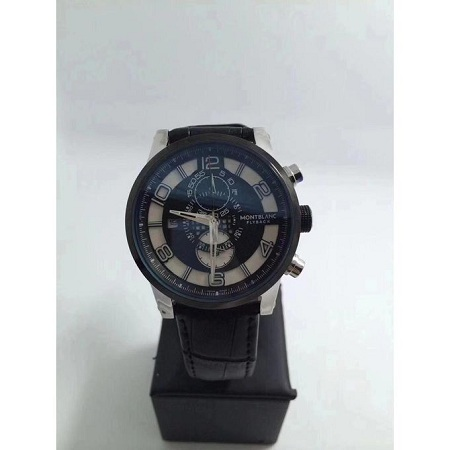Fashion Flyback Black & White Dial Leather Strap Watch