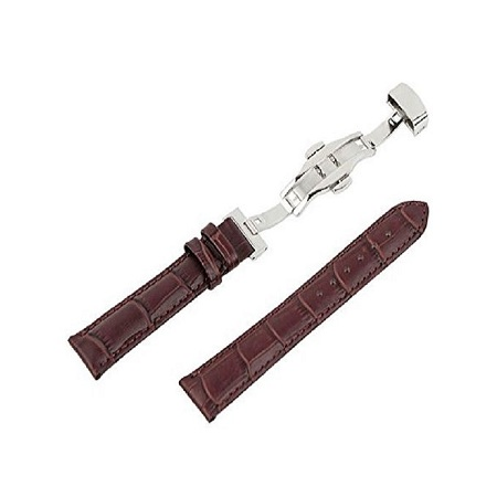 Fashion Leather Watch Band Butterfly Clasp Strap - TAN
