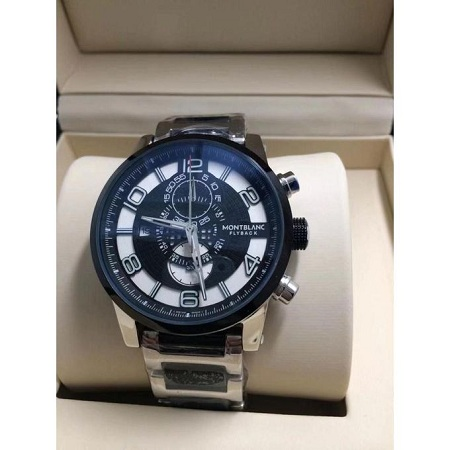 Fashion Silver White Dial Black face Stainless Steel Strap Watch