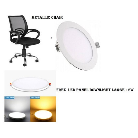 Metallic office chairs-Black+LED Panel Downlight large 12W