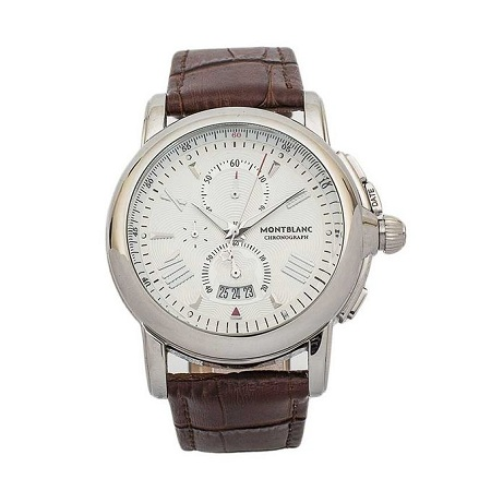 Mont Blanc Brown White & Silver Dial Leather Chronograph Watch