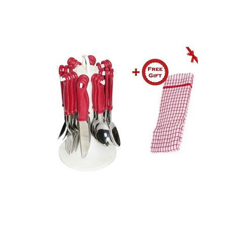 24pcs Stainless Steel Cutlery Set - Red (+ Free Gift Hand Towel).
