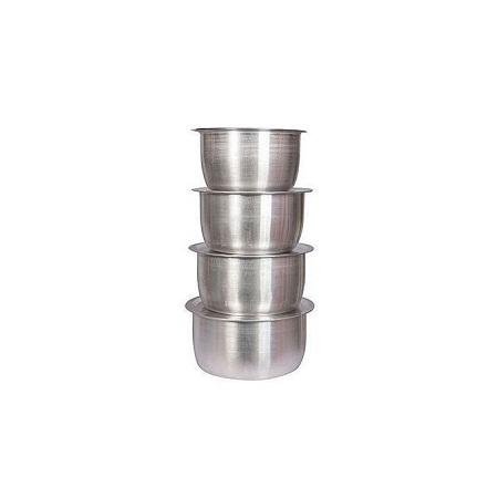 4Pcs Set Of Stainless Aluminium Sufuria Silver