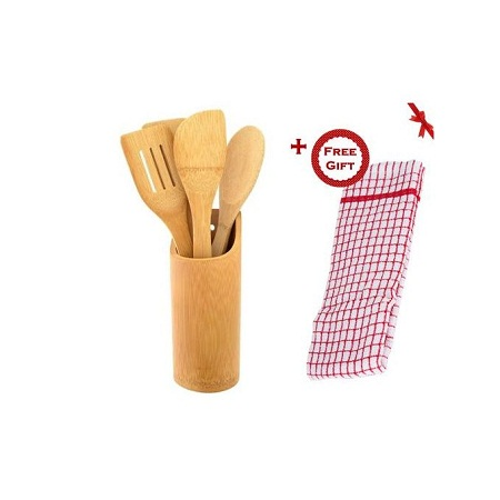 5 Piece Bamboo Wooden Kitchen Cooking Utensils Set Tools Spatula Spoon Turner (+ Free Gift Hand Towel).