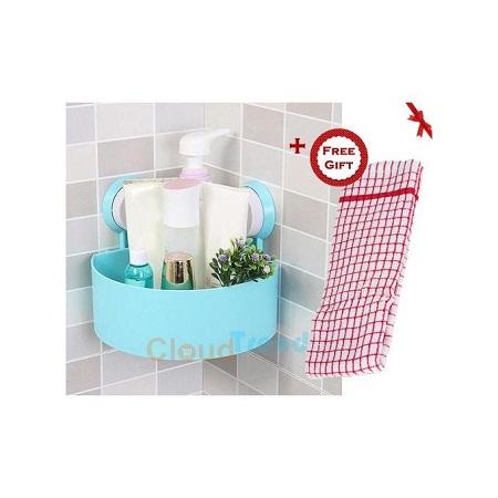 Bathroom Corner Storage Rack Organizer Shower Shelf Suction Cup - Blue (+ Free Gift Hand Towel).