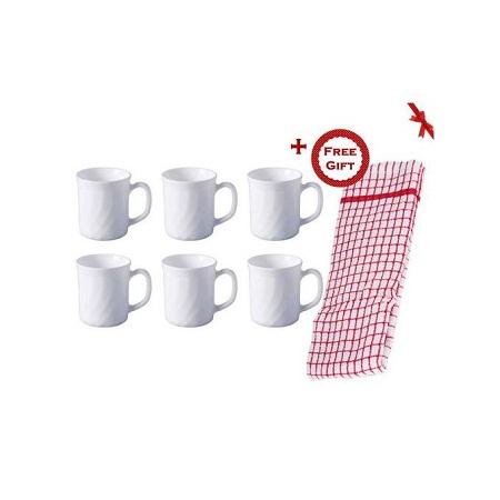 Diva La Opala Set of 6 Microwave Safe Tea Cup / Coffee Mug (+ Free Gift Hand Towel).