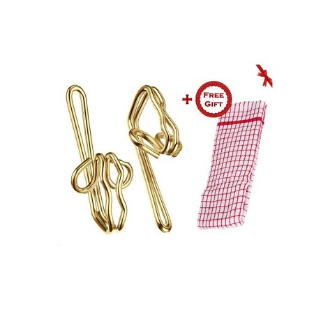 Metal Curtain Hooks (Golden) - Box of 100pcs (+ Free Gift Hand Towel).