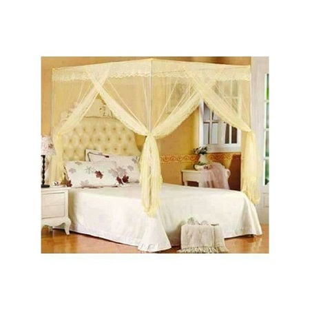 Mosquito Net - Cream in colour - With metallic stand - Size - 6 x 6