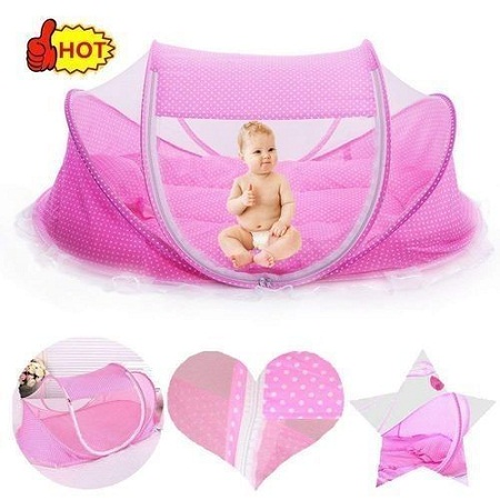 Portable & Foldable Anti-Mosquito Crib - Pink
