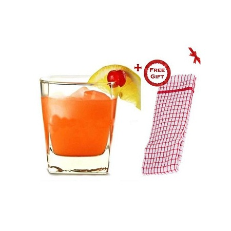 Clear Square Whisky Glasses - Set of 6 (+ Free Gift Hand Towel).