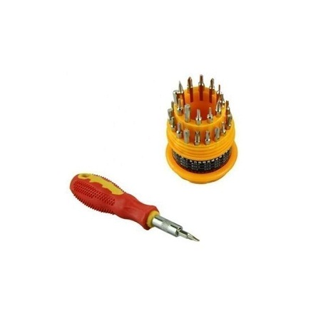 Screwdriver Set 31-In-1 Precision Handle - Sliver & Yellow