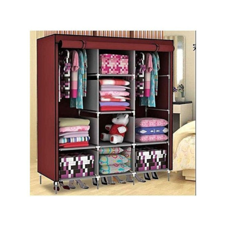 JIBAO Quality 3Column Wooden Portable Wardrobe-Maroon