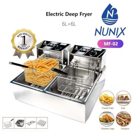 Nunix Electric Double Deep Fryer Machine - 6L+6L Commercial