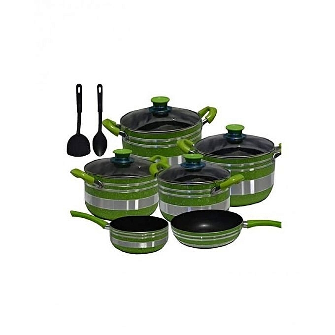 8 Pieces - Non Stick Cooking Pot - Green & Silver