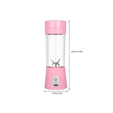 380ml Portable USB Rechargeable Juicer Cup Fruit Juicer Blender Mixer Protein Shakes Maker Bottle for Office Outdoor Travel Pink