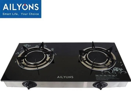 AILYONS/LYONS Glass Top Infrared Double Burner Gas stove- GS005