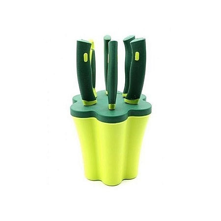 6-piece Knife Set Plus Stand - Green