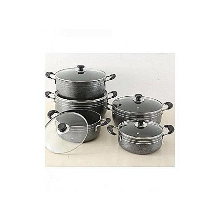 Generic 5 Set - Non Stick Cooking Pots - Black