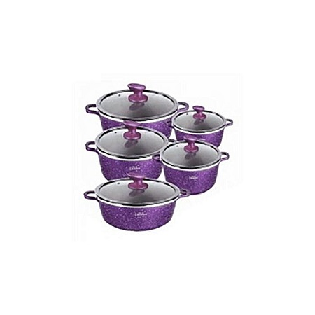 Non-Stick Cooking Pots - 10 Pieces - Purple
