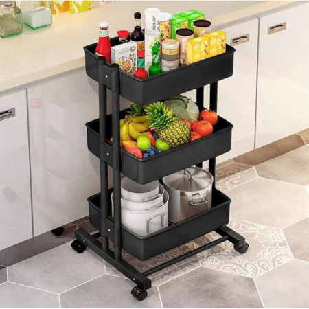 3 Layer Fruit And Vegetable Stand With Wheels