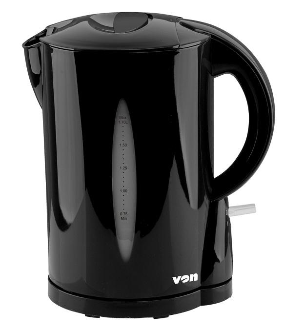 Von VSKL17BVK 1.7L Upright Cordless Kettle 2200W - Black