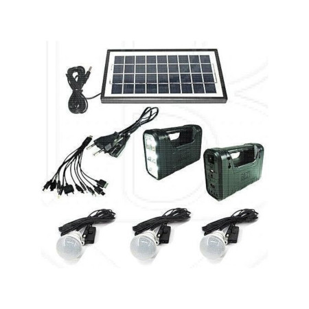 Gdl GD 8017 A Solar Lighting System Kit With 3 LED Lights, Solar Panel, Power Cable And Multiple Phone Charger