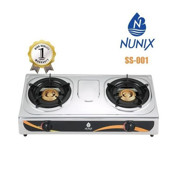 Nunix 2 Burner Table Top Gas Cooker SS001 Stainless Steel