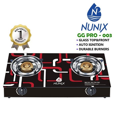 Nunix GG PRO-003 - Tampered Glass Gas Table Cooker
