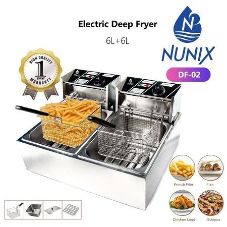 Nunix Electric Deep Fryer Machine - 6L+6L-2500W