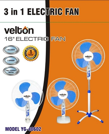 16 Inch 3-in-1 Fan (Stand, Table, Wall)Model No: VSF- 40602