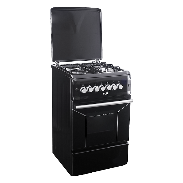Von F5N31E2.BLK.E/VAC5F031PK 3 Gas + 1 Electric Cooker - Black