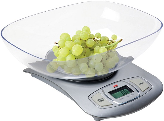 Von HESK01CS/VSWK01MCX Kitchen Weighing Scale, 5KG, Electronic – Stainless Steel