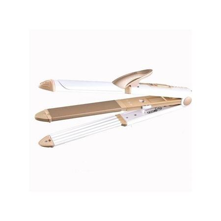 3 In 1 Curling Irons & Straightening Irons Multi-functional Heated Rollers Corrugated Flat Iron Perfect Curl Tool(golden with box)