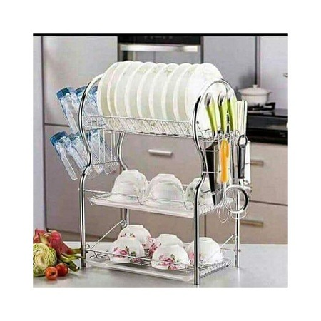 3 Layer Stainless Steel Dish Drainer Drying Rack