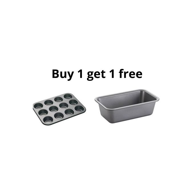Generic 12 Hole Muffin Tray And Get One Non Stick Box Loaf Tin