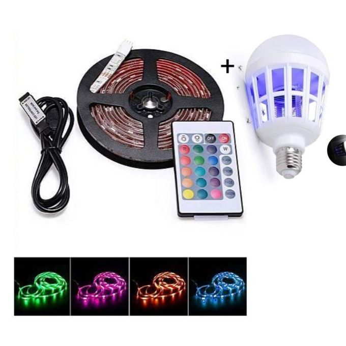 Generic 5M RGB Color Changing Flexible Led Strip Light Kit + Free Mosquito Bulb