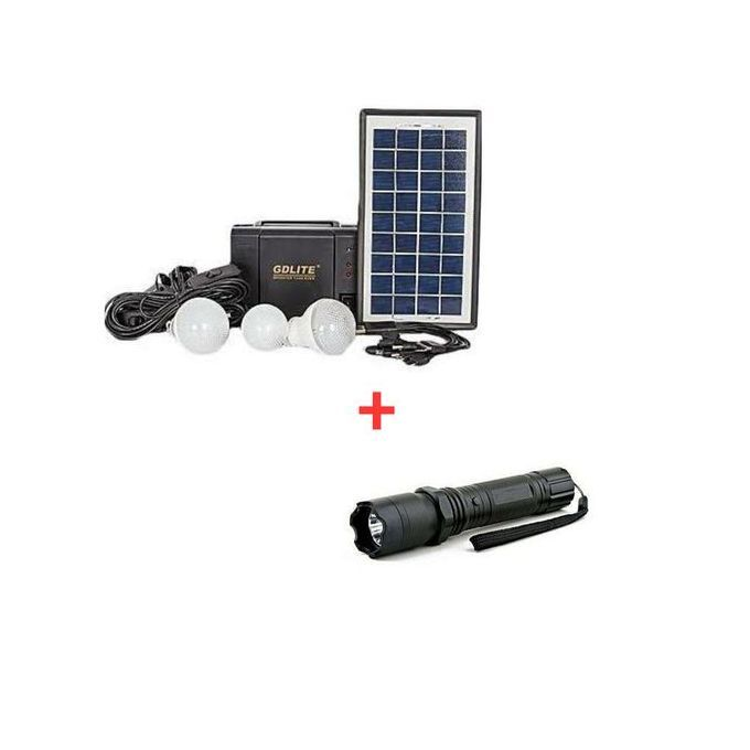 GDLITE Solar Panel, LED Lights And Phone Charging Kit Free Torch