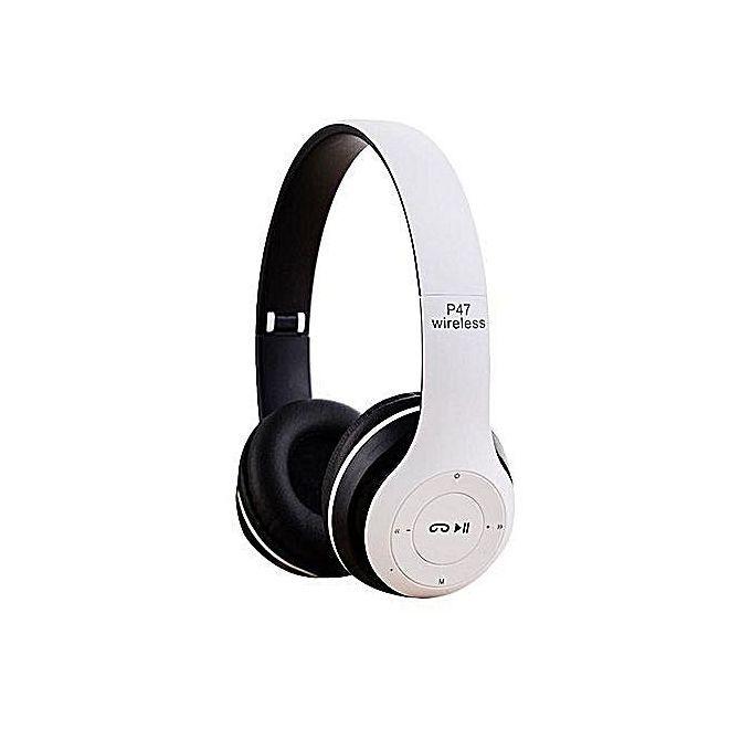 P47 Bluetooth Music Headset -White