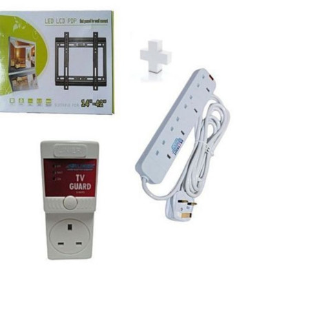 Wall Mounting Bracket for 14 - 42 TV plus free Tv guard and Free 4-way extension