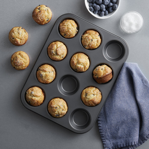 12-Cavity Muffin Bakeware Non-stick Cupcake Baking Pan Mini Pie Pans, Heavy Duty Baking Mold Pan