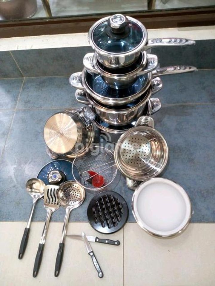 25 Pcs Heavy Duty Stainless steel Cookware Set Stainless Steel
