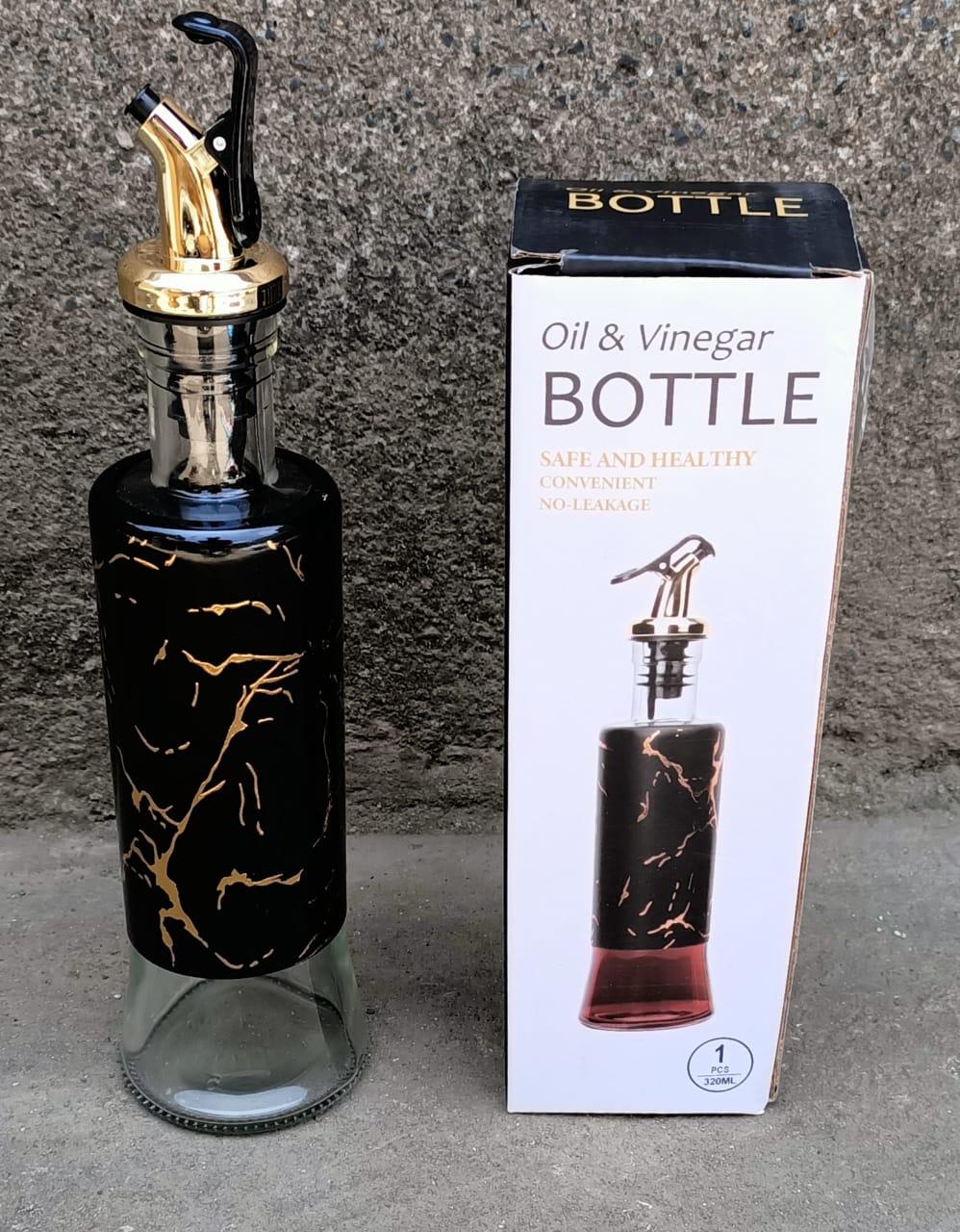 2pcs Generic Marble Kitchen Olive Oil And Vinegar Bottle glass jar Black
