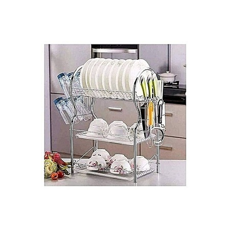 3-Tier Dish Rack / Utensils Rack Stainless Steel with Drain Board silver