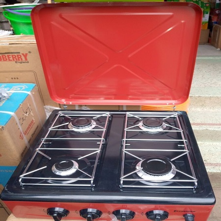 4 Burner Gas Stove Table Top - Red/Maroon