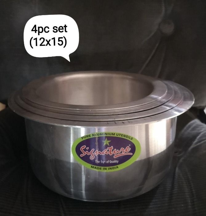 4pcs Heavy Duty Set Base Aluminium Cooking Pots Sufuria Aluminium