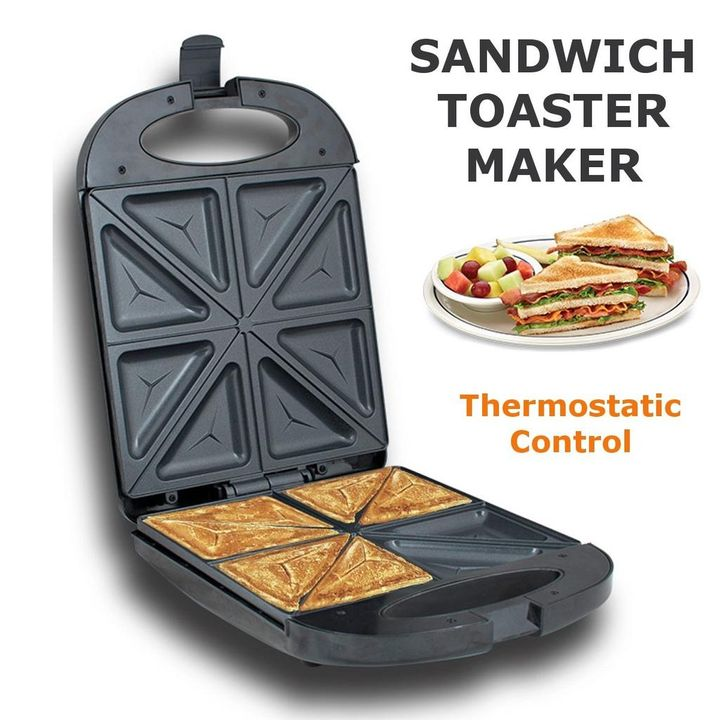 4 slice Sandwich Maker, Toaster with Non-stick plates, LED Indicator Lights, Cool Touch Handle
